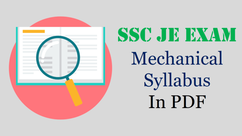 SSC JE Mechanical Syllabus