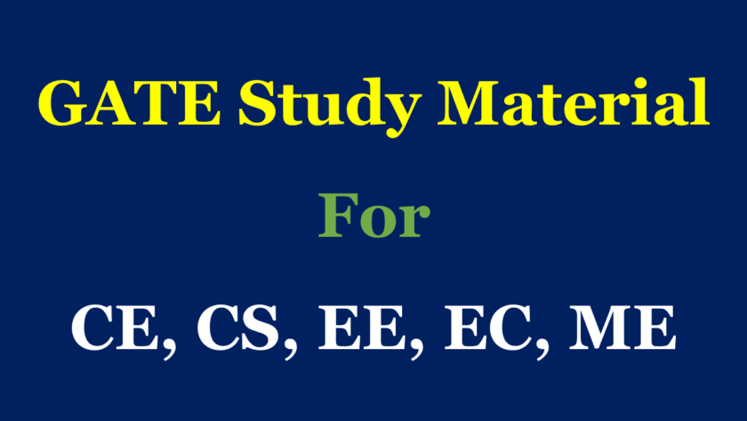 GATE Study Material Free Download in PDF for CE,CS,CH,EE,EC,ME