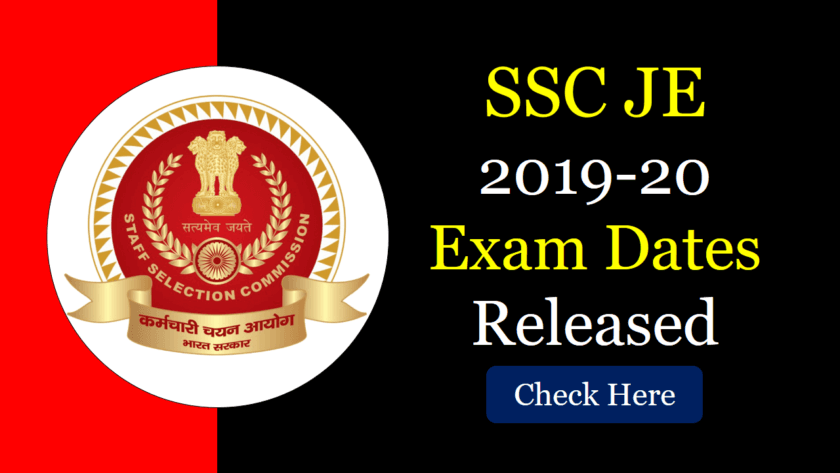 SSC JE 2019 Exam Dates