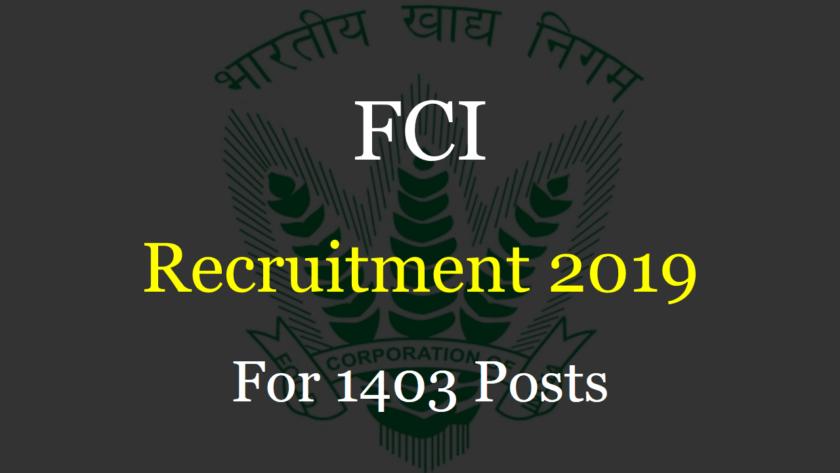 SSC FCI Recruitment 2019