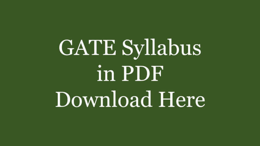 PDF] GATE 2020 Syllabus for All Papers - Download Now