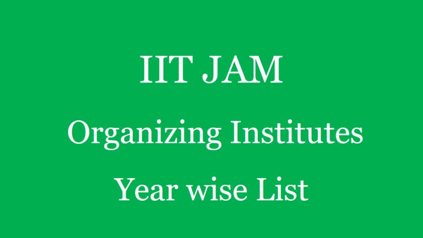 IIT JAM Organizing Institutes